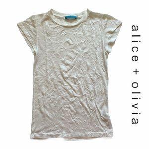 Alice & Olivia ivory crinkle tee wool blend XS